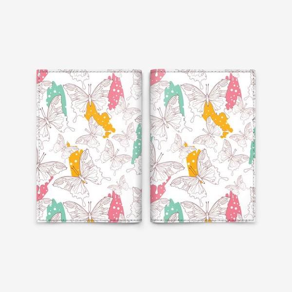 Обложка для паспорта «Яркий паттерн с бабочками»