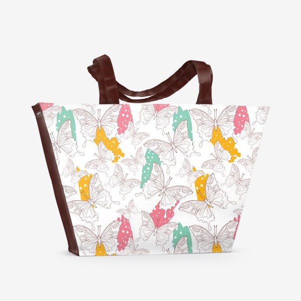 Пляжная сумка «Яркий паттерн с бабочками»