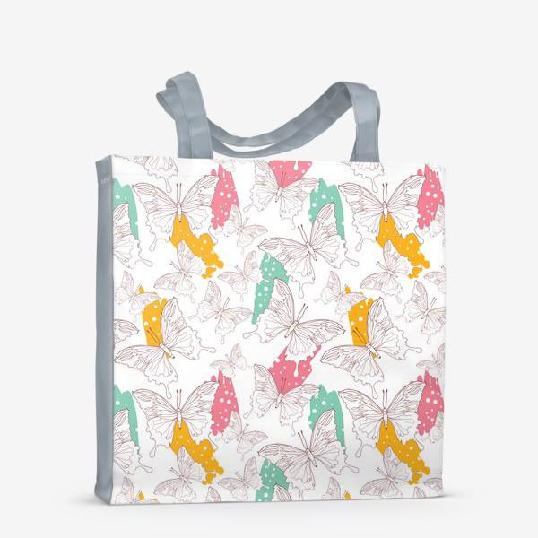 Сумка-шоппер «Яркий паттерн с бабочками»