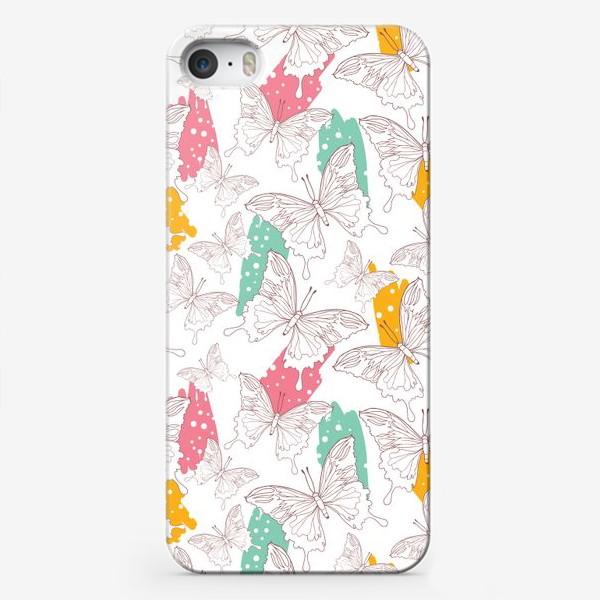 Чехол iPhone «Яркий паттерн с бабочками»