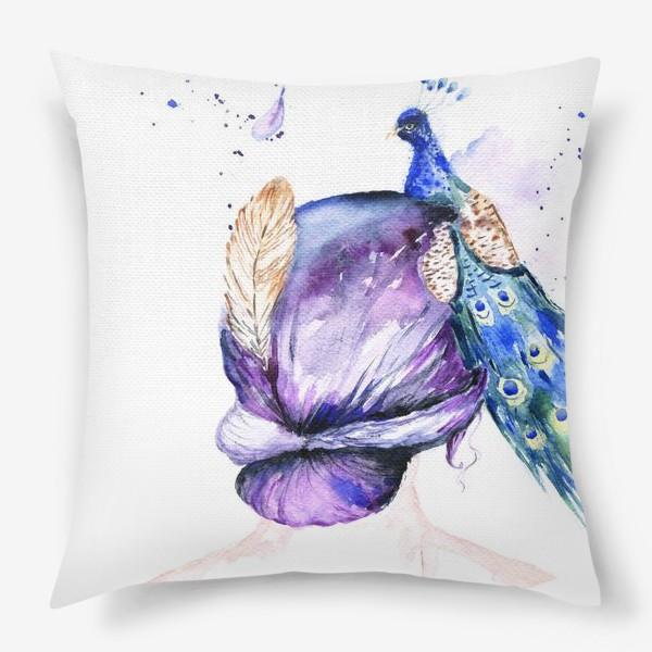Подушка «Девушка с перьями»