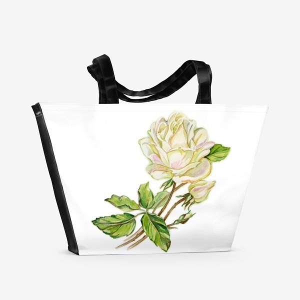Пляжная сумка «Белая роза»