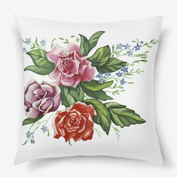 Подушка «Розы и незабудки»
