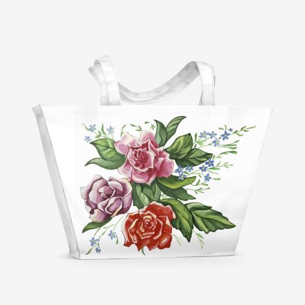 Пляжная сумка «Розы и незабудки»