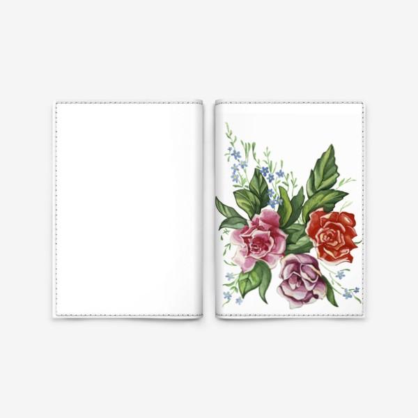 Обложка для паспорта «Розы и незабудки»