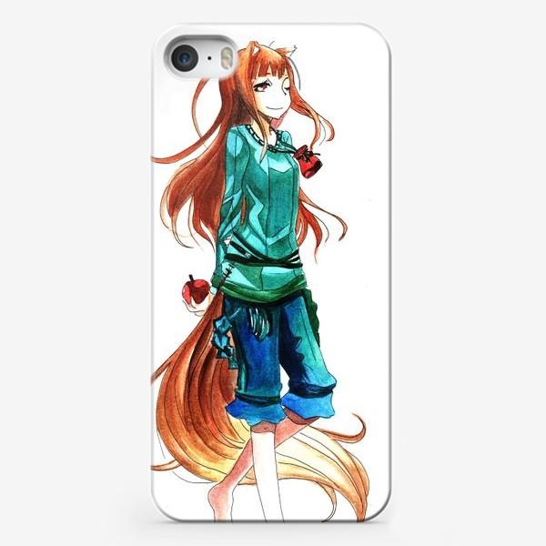 Чехол iPhone «Аниме. Холо-девочка лиса с яблоком»