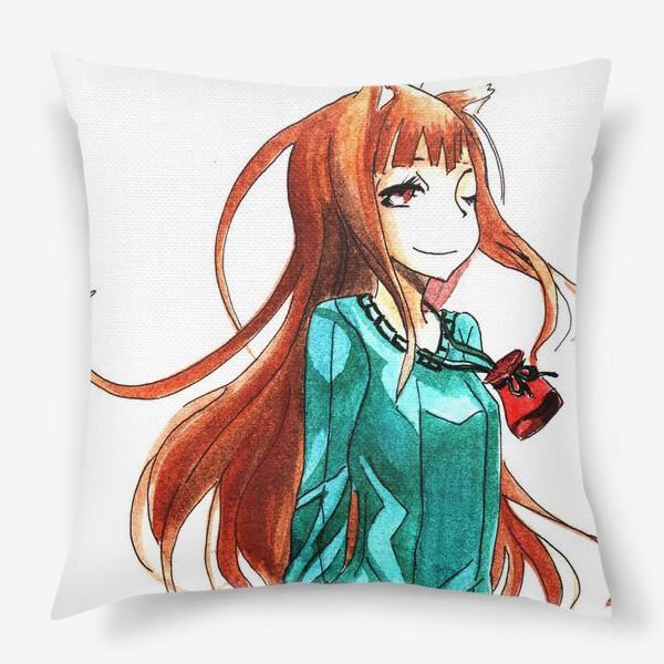 Подушка «Аниме. Холо-девочка лиса с яблоком»