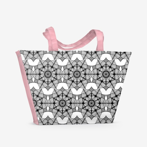 Пляжная сумка «Черно-белая текстура в мандалы»