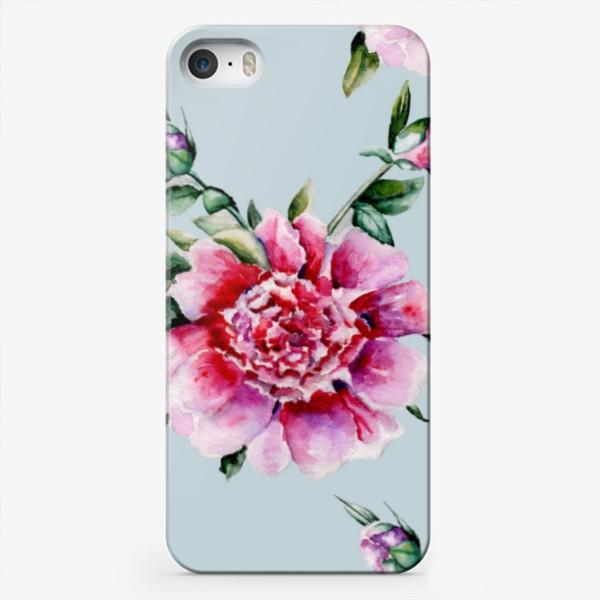 Чехол iPhone «Пионы паттерн»