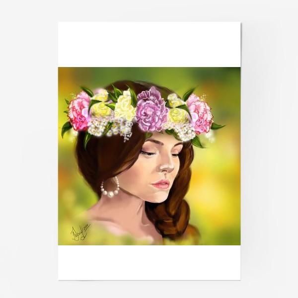 Постер «девушка с цветами»