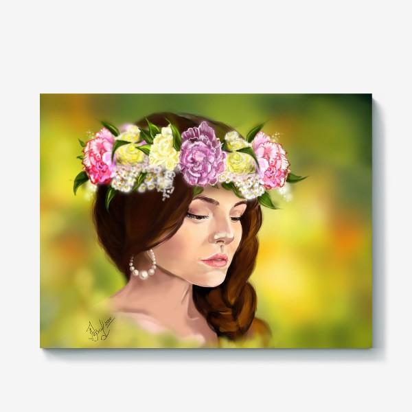 Холст «девушка с цветами»