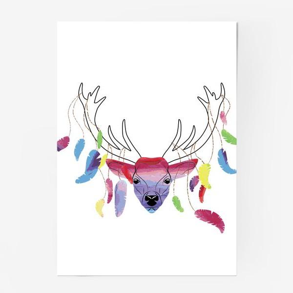 Постер «Олень и акварельные перья»