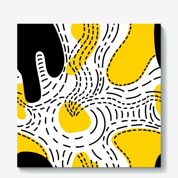 Холст «Стильный геометрический узор пятна и стежки»