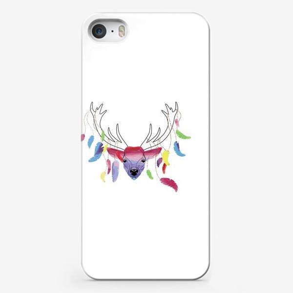 Чехол iPhone «Олень и акварельные перья»