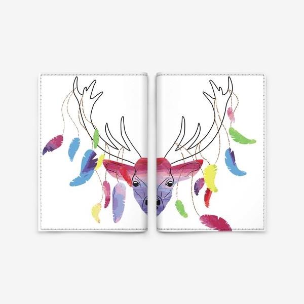 Обложка для паспорта «Олень и акварельные перья»