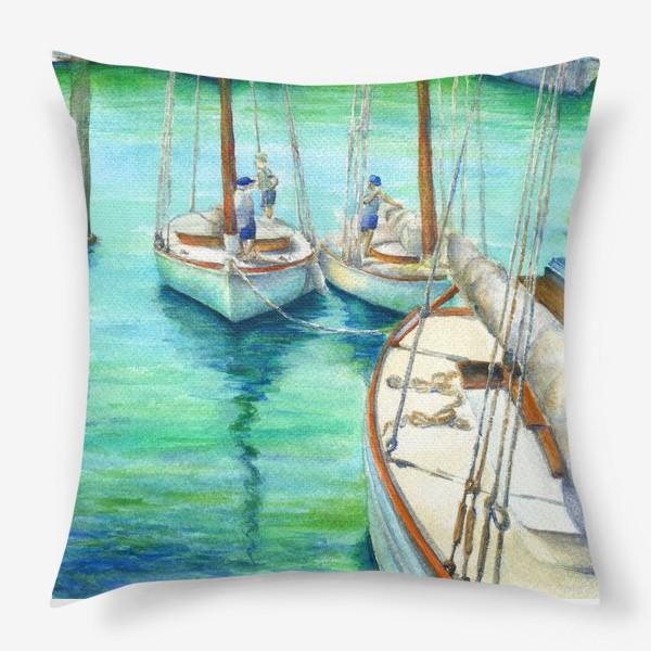 Подушка «Море, лодки.»