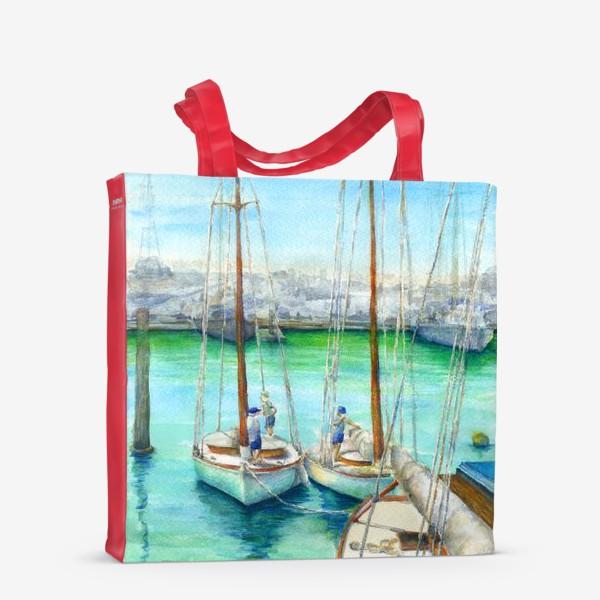 Сумка-шоппер «Море, лодки.»
