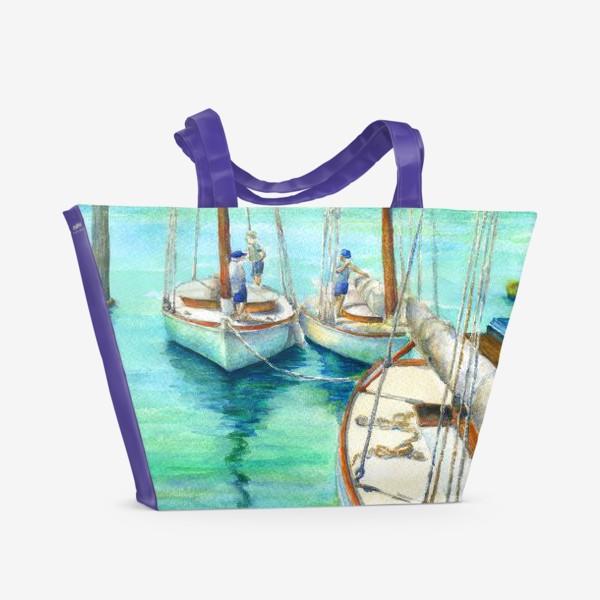 Пляжная сумка «Море, лодки.»
