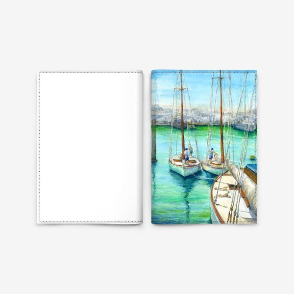 Обложка для паспорта «Море, лодки.»