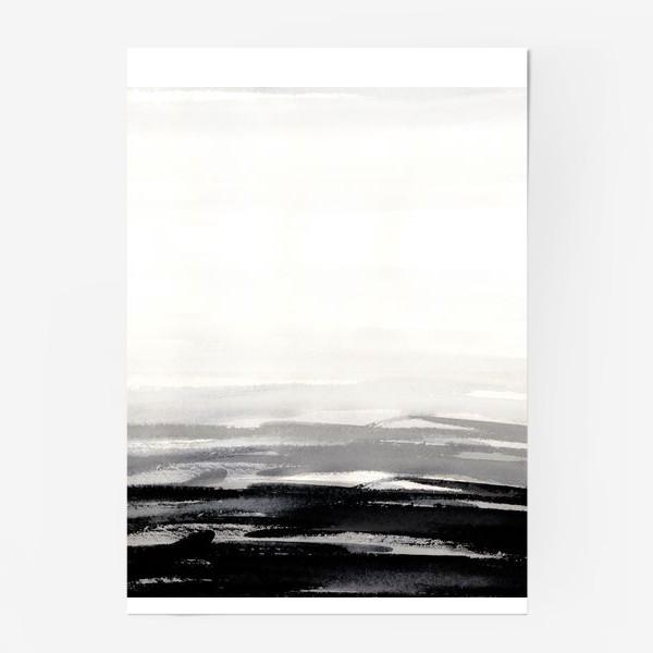Постер «Черно-белая акварель»