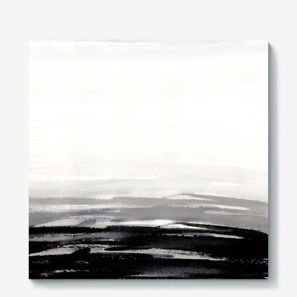 Холст «Черно-белая акварель»