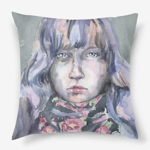 Подушка «Девушка с цветочным шарфом»