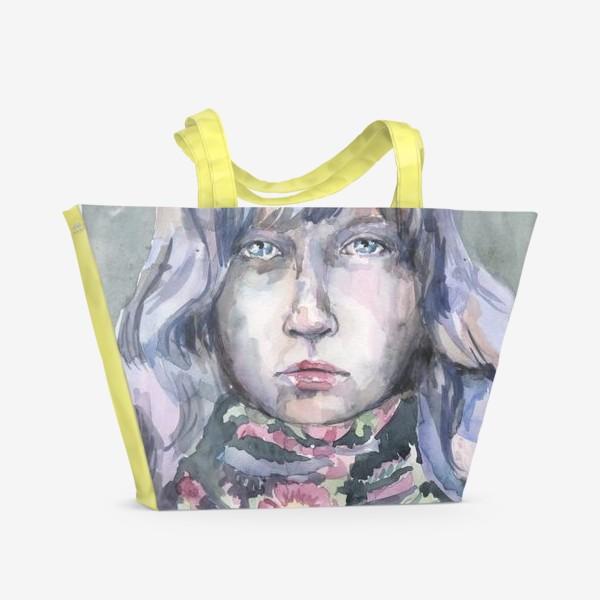 Пляжная сумка «Девушка с цветочным шарфом»