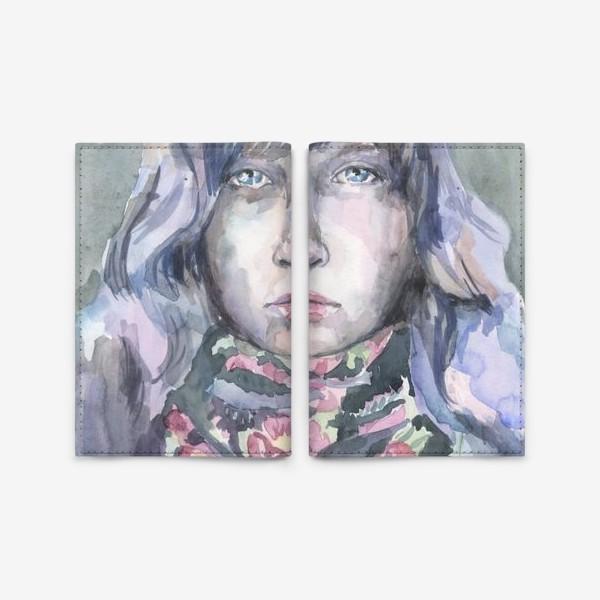 Обложка для паспорта «Девушка с цветочным шарфом»