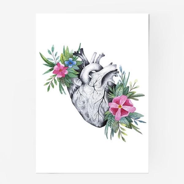 Постер «Сердце и цветы»