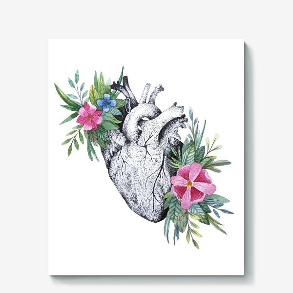 Холст «Сердце и цветы»