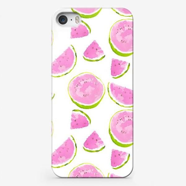Чехол iPhone «Сочный арбуз. Летний акварельный принт на белом фоне»