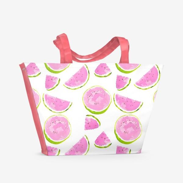 Пляжная сумка «Сочный арбуз. Летний акварельный принт на белом фоне»