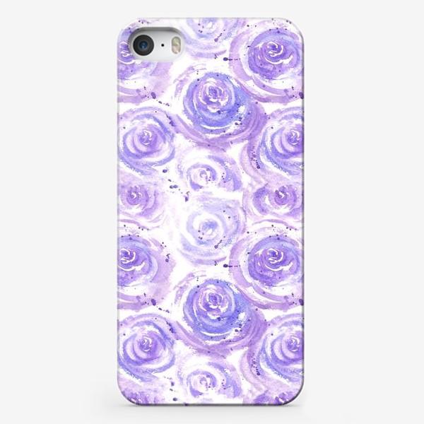 Чехол iPhone «Фиолетовые розы. Акварельный цветочный абстрактный принт на белом фоне»