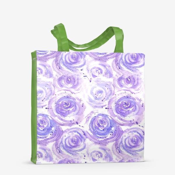 Сумка-шоппер «Фиолетовые розы. Акварельный цветочный абстрактный принт на белом фоне»