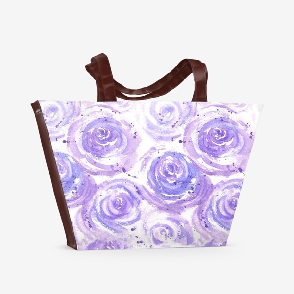 Пляжная сумка «Фиолетовые розы. Акварельный цветочный абстрактный принт на белом фоне»