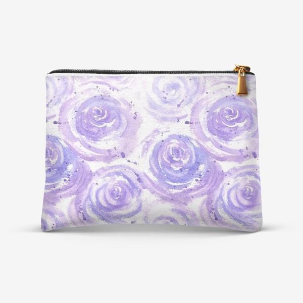 Косметичка «Фиолетовые розы. Акварельный цветочный абстрактный принт на белом фоне»