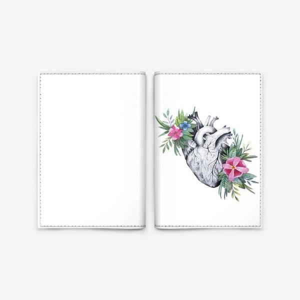 Обложка для паспорта «Сердце и цветы»