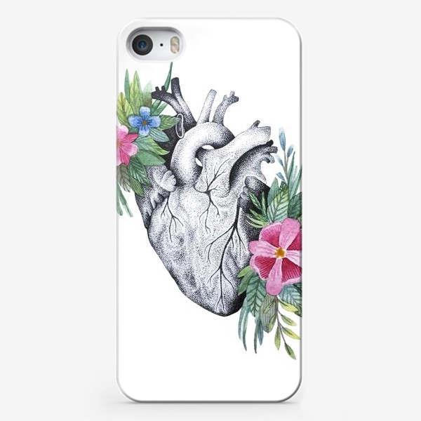 Чехол iPhone «Сердце и цветы»
