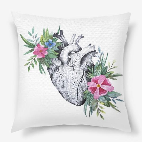 Подушка «Сердце и цветы»