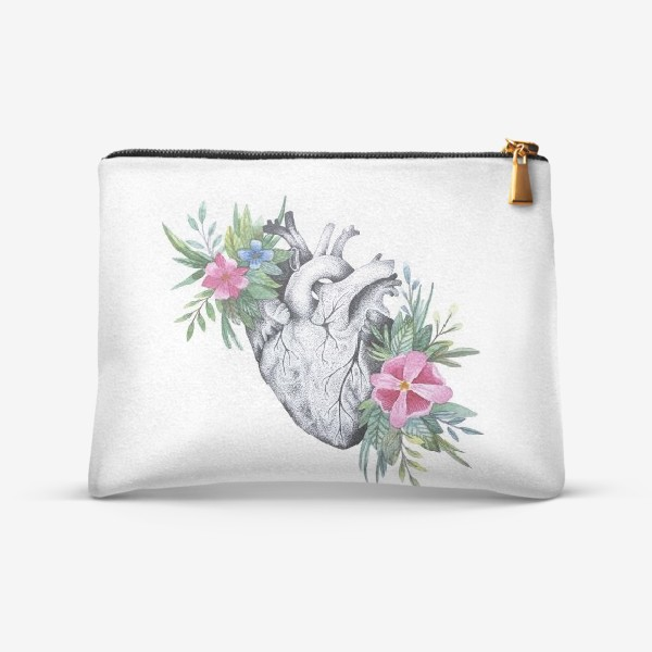 Косметичка «Сердце и цветы»