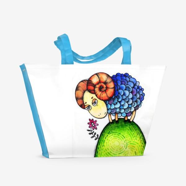 Пляжная сумка «Барашек на лужайке»