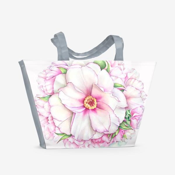 Пляжная сумка «Букет пионов»
