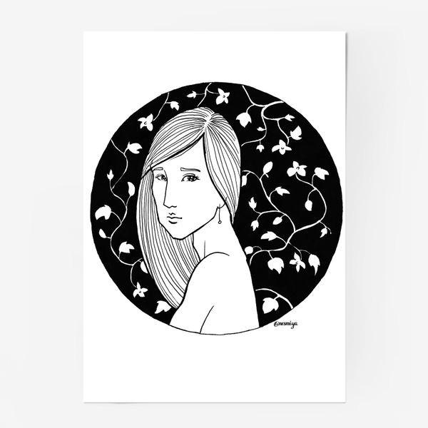 Постер «Девушка в цветах, белое»