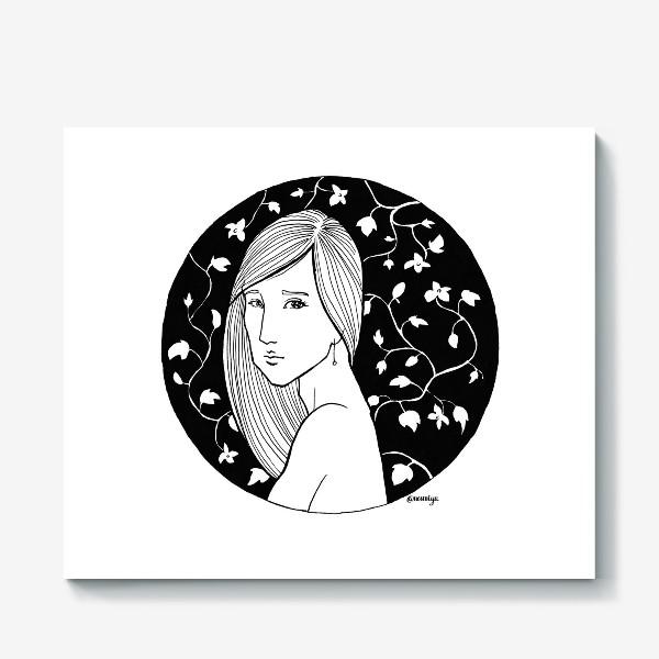 Холст «Девушка в цветах, белое»