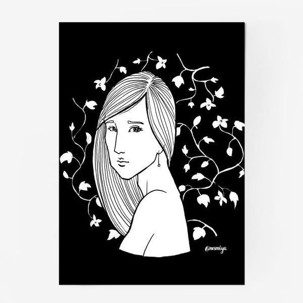 Постер «Девушка в цветах, черное»
