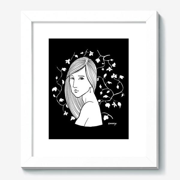Картина «Девушка в цветах, черное»