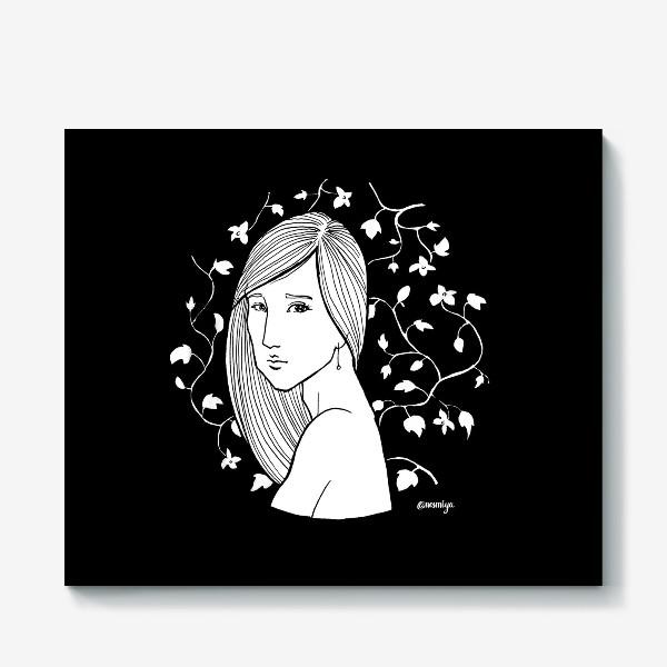 Холст «Девушка в цветах, черное»