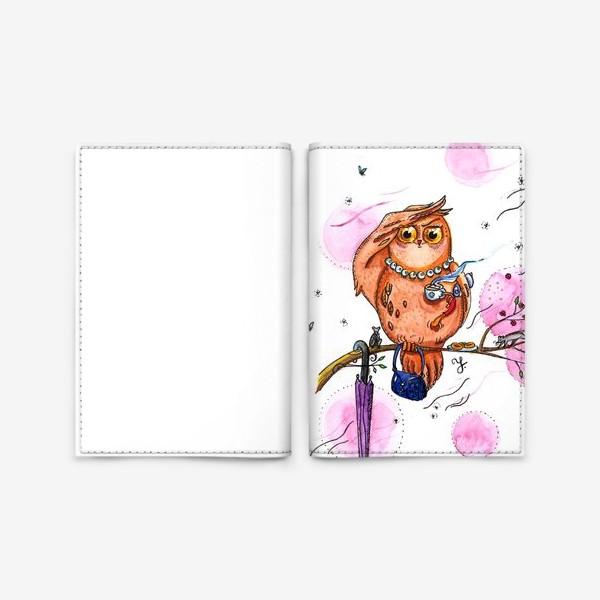 Обложка для паспорта «Сова с кофе»