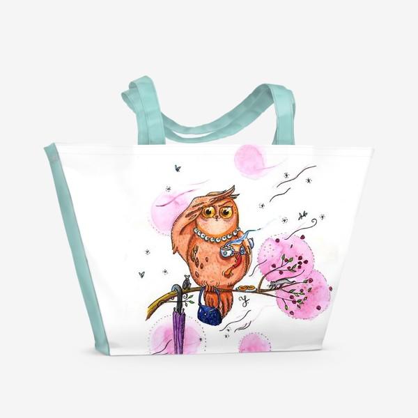 Пляжная сумка «Сова с кофе»