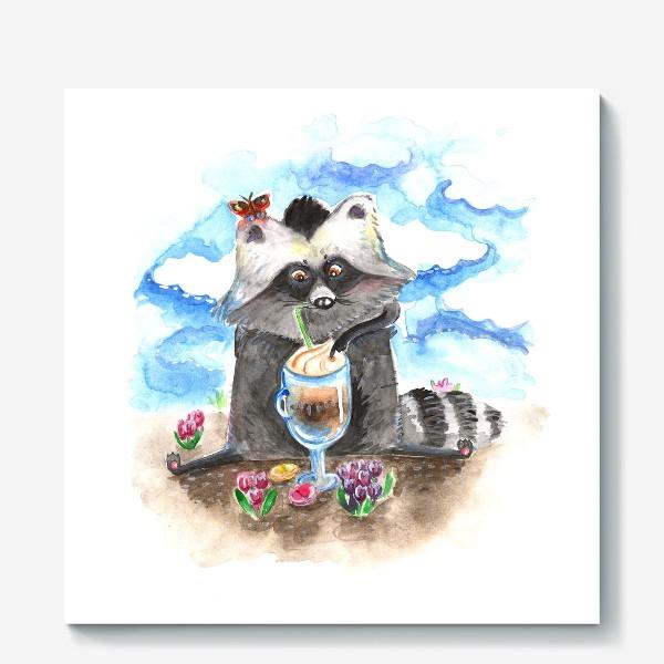 Холст «Енотовидная собака и латте»